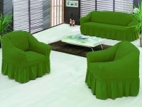 Натяжной чехол на трехместный диван Bulsan зеленый