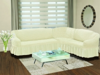 Натяжной чехол на угловой правосторонний диван Bulsan кремовый