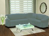 Натяжной чехол на угловой правосторонний диван Bulsan серый