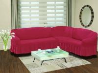 Натяжной чехол на угловой правосторонний диван Bulsan грязно-розовый