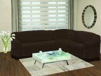 Натяжной чехол на угловой правосторонний диван Bulsan коричневый