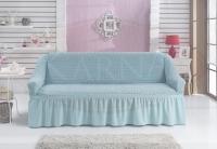 Натяжной чехол на трехместный диван Bulsan бирюзовый