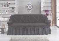 Натяжной чехол на трехместный диван Bulsan темно-серый