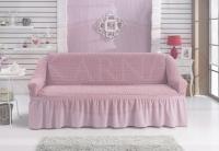 Натяжной чехол на трехместный диван Bulsan светло-розовый