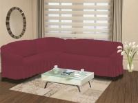 Натяжной чехол на угловой левосторонний диван Bulsan фуксия