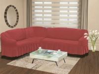 Натяжной чехол на угловой левосторонний диван Bulsan грязно-розовый