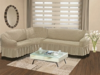 Натяжной чехол на угловой левосторонний диван Bulsan кофейный
