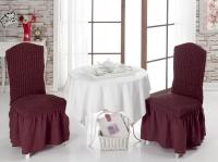 Набор из 6 натяжных чехлов на стул с юбкой Bulsan бордовый