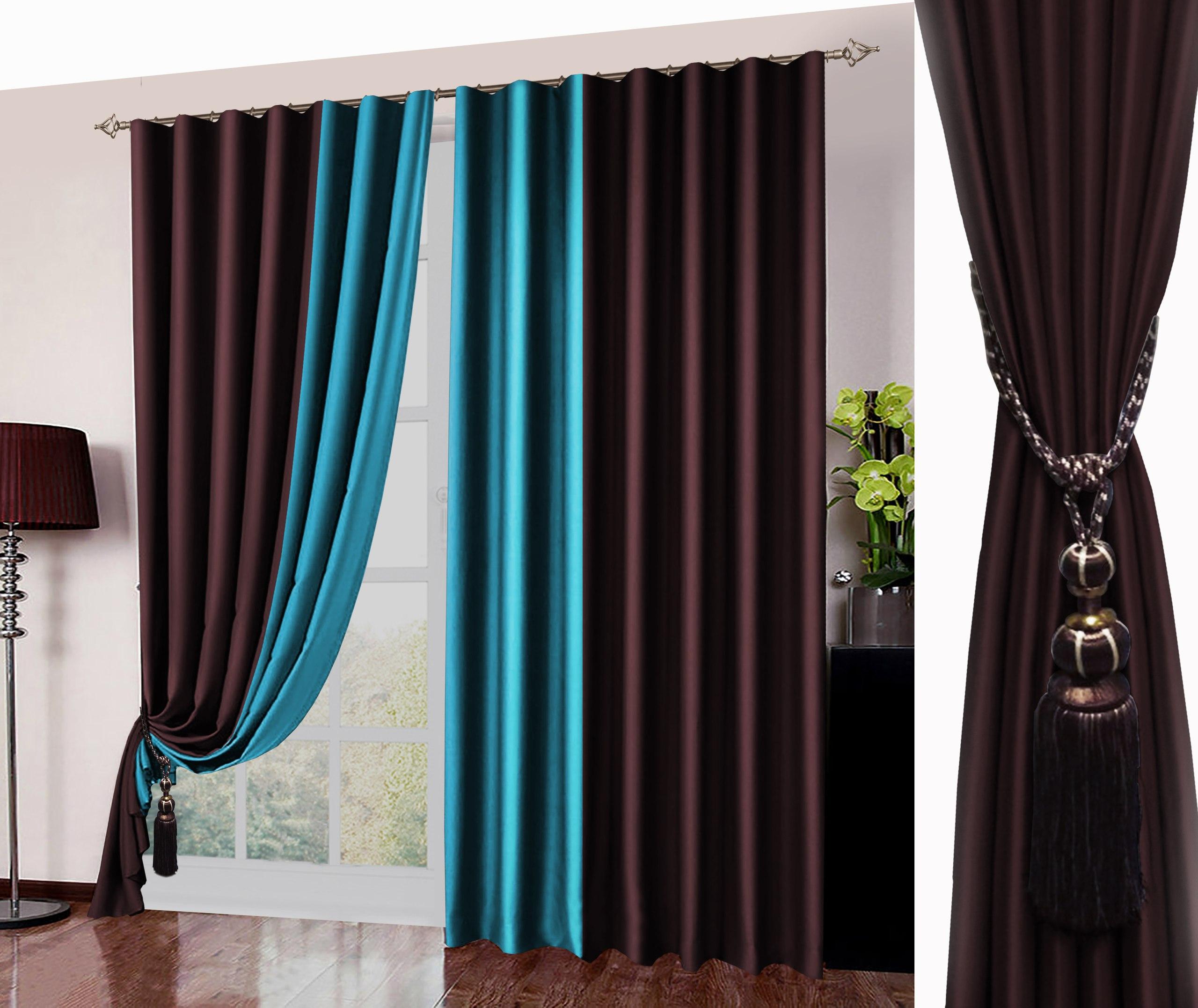 шторы бирюза с коричневым фото