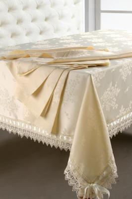бежевые скатерти на столы жаккард Softline 03309 фото. бежевые скатерти на столы...