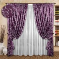 Готовые шторы с тюлем Реалтекс модель № 072 фиолетовый