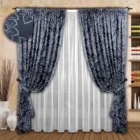 Готовые шторы с тюлем Реалтекс модель № 072 синий-бирюза