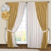 Готовые шторы Реалтекс модель № 074 белый-золото