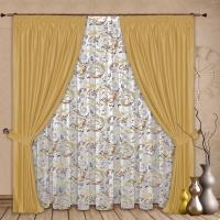 Готовые шторы с тюлем Реалтекс модель № 079 золото