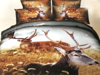 Постельное белье 1,5-спальное Cleo 3D сатин 15/1033-3D (с наволочками 50х70)
