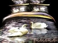 Постельное белье 1,5-спальное Cleo 3D сатин 15/1034-3D (с наволочками 50х70)