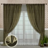 Готовые шторы с тюлем Реалтекс модель № 104 светло-оливковый