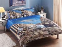 Постельное белье TAC 1,5-спальное Satin Delux Nikas Теплый греческий осенний вечер
