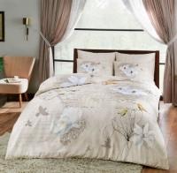 Постельное белье 2-спальное (евро) TAC Brenna сатин бежевый