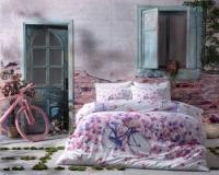 Постельное белье 2-спальное (евро) TAC Vincent сатин фуксия