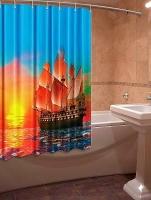 Шторка для ванной Новый стиль Алые паруса 148x180