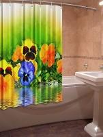 Шторка для ванной Новый стиль Анютины глазки 148x180