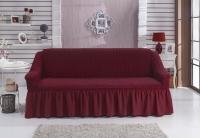 Натяжной чехол на двухместный диван Bulsan бордовый