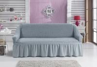 Натяжной чехол на двухместный диван Bulsan серый