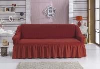 Натяжной чехол на двухместный диван Bulsan кирпичный