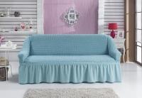 Натяжной чехол на двухместный диван Bulsan бирюзовый
