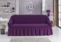 Натяжной чехол на двухместный диван Bulsan фиолетовый