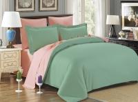 Постельное белье семейное (дуэт) Karna сатин Sanford зеленый-абрикосовый