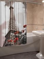 Шторка для ванной Новый стиль Эйфелева башня 148x180