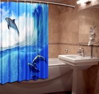 Шторка для ванной Новый стиль Дельфины 148x180