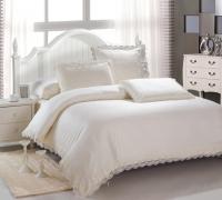 Постельное белье 2-спальное (стандарт) Kingsilk люкс-cатин с кружевом LS 014К