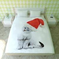 Постельное белье 2-спальное (евро) Newtone сатин Новогодний пушистик (с наволочками 50x70)