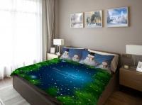 Постельное белье 2-спальное (евро) Newtone сатин Снеговики (с наволочками 70x70)