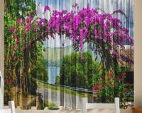 Фототюль для кухни Новый стиль Т0385 Цветочная арка 145x160