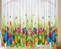 Фототюль для кухни Новый стиль Т0434 Бабочки 145x160