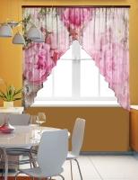 Фототюль угловая для кухни Новый стиль Хризантемы
