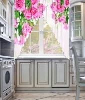 Фототюль угловая для кухни Новый стиль Утренний букет
