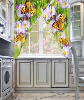 Фототюль угловая для кухни Новый стиль Лужайка
